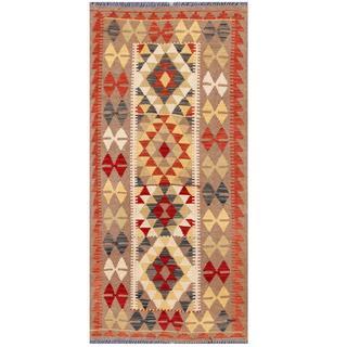 Herat Oriental Afghan Hand-woven Tribal Kilim Ivory/ Beige Wool Rug (3'3 x 6'8)