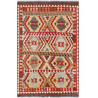 Herat Oriental Afghan Hand-woven Tribal Kilim Red/ Ivory Wool Rug (4'2 x 6'4)