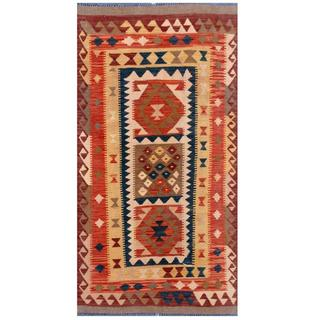 Herat Oriental Afghan Hand-woven Tribal Kilim Navy/ Rust Wool Rug (3'4 x 6'5)