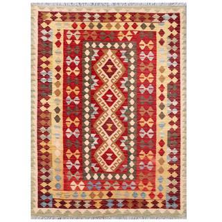 Herat Oriental Afghan Hand-woven Tribal Wool Kilim (4' x 5'7)