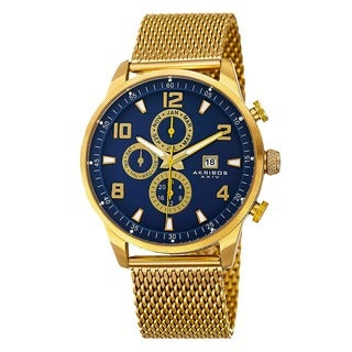 Akribos XXIV Men's Swiss Quartz Multifunction Dual Time Stainless Steel Mesh Gold-Tone Bracelet Watch
