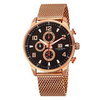 Akribos XXIV Men's Swiss Quartz Multifunction Dual Time Stainless Steel Mesh Rose-Tone Bracelet Watch