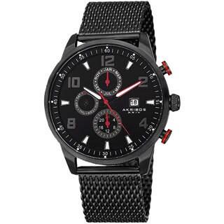 Akribos XXIV Men's Swiss Quartz Multifunction Dual Time Stainless Steel Mesh Black Bracelet Watch