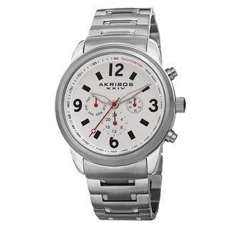 Akribos XXIV Men's Swiss Quartz Tachymeter Dual Time Stainless Steel Silver-Tone Bracelet Watch