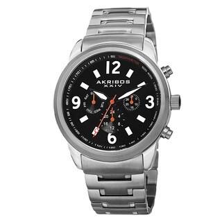Akribos XXIV Men's Swiss Quartz Tachymeter Dual Time Stainless Steel Silver-Tone Bracelet Watch