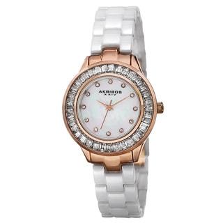Akribos XXIV Women's Quartz Crystal Markers Ceramic White Bracelet Watch with FREE GIFT