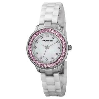 Akribos XXIV Women's Quartz Crystal Markers Ceramic White Bracelet Watch with FREE Bangle