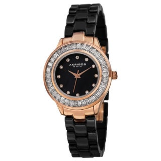 Akribos XXIV Women's Quartz Crystal Markers Ceramic Black Bracelet Watch with FREE Bangle