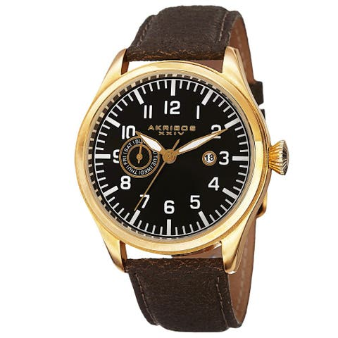 Akribos XXIV Men's Swiss Quartz Multifunction Leather Gold-Tone Strap Watch