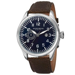Akribos XXIV Men's Swiss Quartz Multifunction Leather Blue Strap Watch