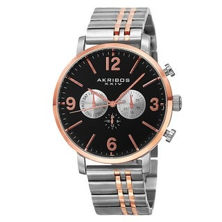 Akribos XXIV Men's Swiss Quartz Multifunction Dual Time Stainless Steel Two-Tone Bracelet Watch