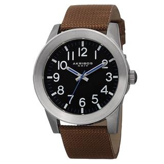 Akribos XXIV Men's Swiss Quartz Easy-To-Read Markers Canvas Silver-Tone Strap Watch