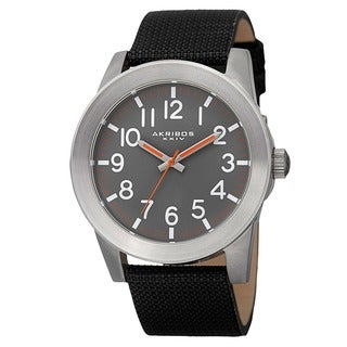 Akribos XXIV Men's Swiss Quartz Easy-To-Read Markers Canvas Silver-Tone Strap Watch