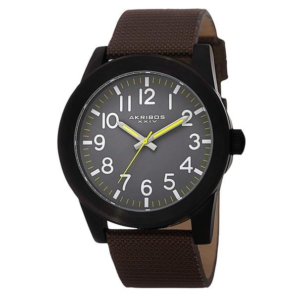 Akribos XXIV Men's Swiss Quartz Easy-To-Read Markers Canvas Black Strap Watch. Opens flyout.