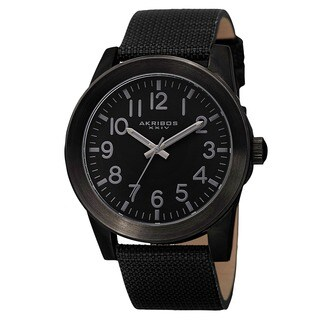 Akribos XXIV Men's Swiss Quartz Easy-To-Read Markers Canvas Black Strap Watch