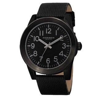 Akribos XXIV Men's Swiss Quartz Easy-To-Read Markers Canvas Black Strap Watch