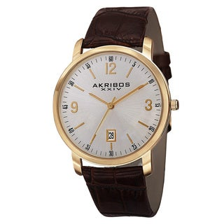 Akribos XXIV Classic Men's Swiss Quartz Date Leather Gold-Tone Strap Watch