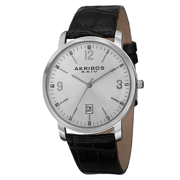 Akribos XXIV Classic Men's Swiss Quartz Date Leather Silver-Tone Strap Watch