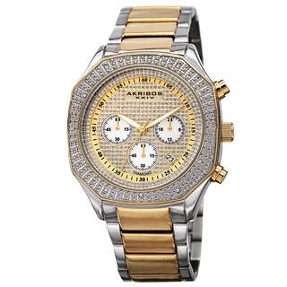 Akribos XXIV Men's Chronograph Octagon Case Stainless Steel Two-Tone Bracelet Watch with FREE GIFT|https://ak1.ostkcdn.com/images/products/9916844/P17074273.jpg?impolicy=medium