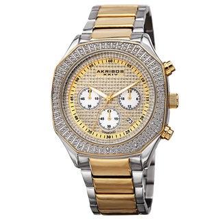 Akribos XXIV Men's Chronograph Octagon Case Stainless Steel Two-Tone Bracelet Watch