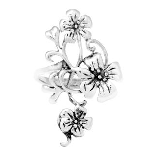 Handmade Delightful Plumeria Bouquet Floral Sterling Silver Ring (Thailand)