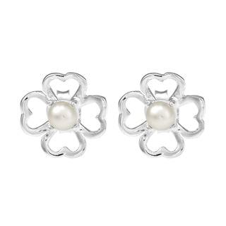 Handmade Lucky Clover Freshwater White Pearl .925 Stud Earrings (Thailand)