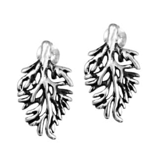 Handmade Enchanting Cypress Leaf .925 Sterling Silver Stud Earrings (Thailand)