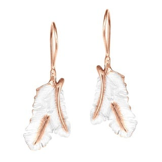 Frozen Feathers Pink Vermeil Solid .925 Silver Earrings (Thailand)