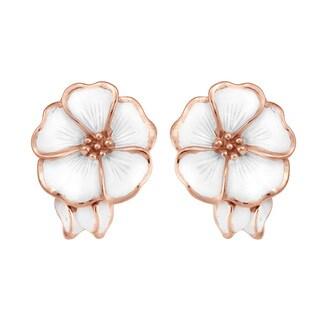 Handmade Hawaiian Frangipani Pink Vermeil Solid .925 Silver Earring (Thailand)