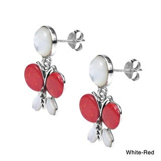Exotic Butterfly Stone Inlay .925 Silver Dangle Earrings (Thailand)