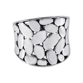 Handmade Variety Medium Oval Pattern .925 Sterling Silver Band Ring (Thailand)
