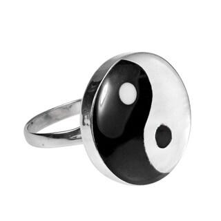 Handmade Yin Yang Balance of Life .925 Sterling Silver Ring (Thailand)