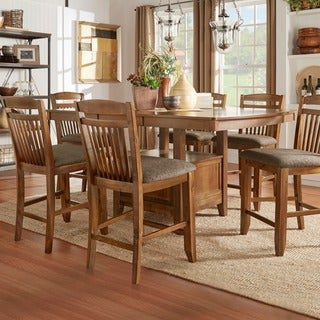 TRIBECCA HOME Octavia Warm Oak Counter Height Storage Base Extending Dining Set