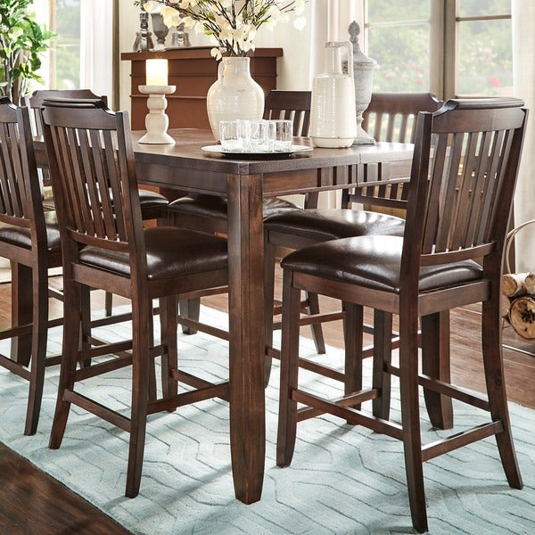 Shop Leopold Traditional Cherry Counter Height 7 Piece Extending Dining Set Free Shipping