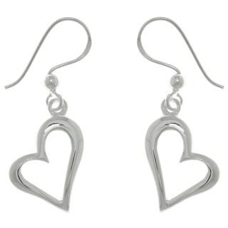 Sterling Silver Open Heart Dangle Earrings