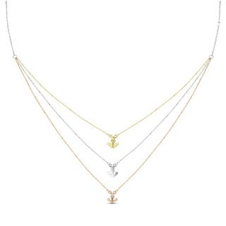 Tri-color Sterling Silver Graduated 3-strand Cubic Zirconia Anchor Necklace