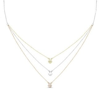 Tri-color Sterling Silver Graduated 3-strand Cubic Zirconia Lock Necklace