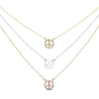 Tri-color Sterling Silver Graduated 3-strand Cubic Zirconia Peace Sign Necklace