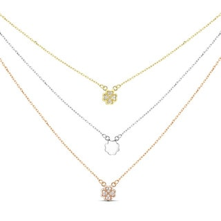 Tri-color Sterling Silver Graduated 3-strand Cubic Zirconia Clover Necklace