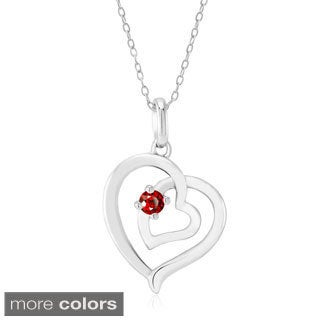 Sterling Silver Double Open Heart Cubic Zirconia Birthstone 18-inch Necklace