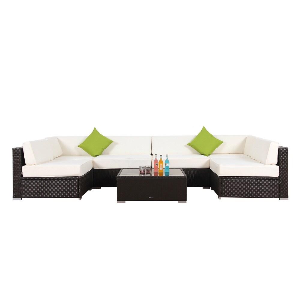 BroyerK 7-piece Outdoor Rattan Patio Furniture Set (cream...