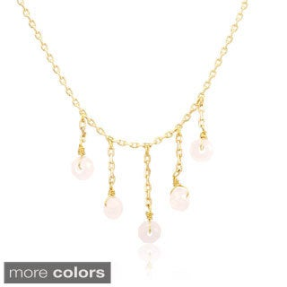 18k Gold-plated Silver Necklace with Crystals