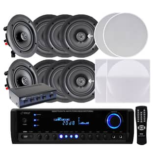 Pyle KTHSP690S Four Pairs of 6.5-inch 200W In-ceiling Speakers with 300W Amplified Receiver and 4-ch|https://ak1.ostkcdn.com/images/products/9917924/P17075277.jpg?impolicy=medium