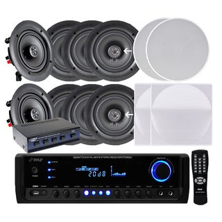 Pyle KTHSP690S Four Pairs of 6.5-inch 200W In-ceiling Speakers with 300W Amplified Receiver and 4-ch