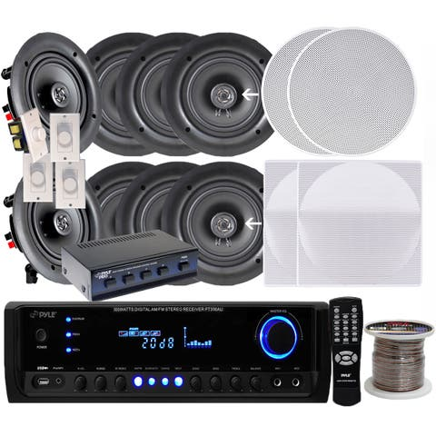 Pyle KTHSP690 6.5-inch 200W In-ceiling Speakers (4 Pair)/ 300W Amplified Receiver/ Selector/ Volume Controls/ 250-foot Wire
