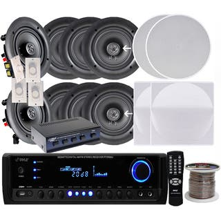 Pyle KTHSP690 6.5-inch 200W In-ceiling Speakers (4 Pair)/ 300W Amplified Receiver/ Selector/ Volume Controls/ 250-foot Wire|https://ak1.ostkcdn.com/images/products/9917927/P17075278.jpg?impolicy=medium