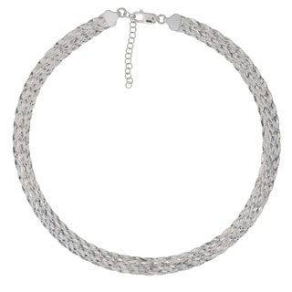 Kariza Sterling Silver Braided Herringbone Necklace