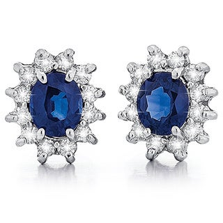 14k White Gold Sapphire Diamond Earrings (G-H, SI1-SI2)