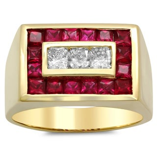 14k Gold Men's 4/5 ct TDW Diamond and 2 2/5 ct Ruby Ring (F-G, VS1-VS2)