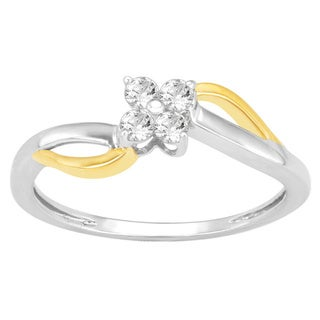 Divina Sterling Silver 1/5ct TDW Floral Diamond Ring (H-I, I3)
